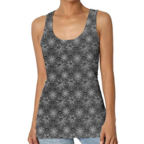 Tiny Spiders and Webs On Grey Halloween Women Summer Vest Sleeveless Blouse Casual Tank Tops Small