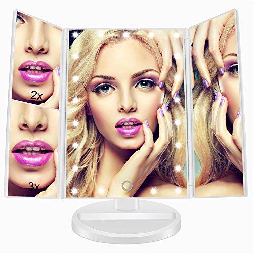 Espejo de Maquillaje, FASCINATE Espejo de Mesa Tríptico con Aumento 1X/2X/3X/10X 21 LEDs,Espejo Maquillaje con Luz Rotación de 180° Espejo