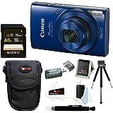 Canon PowerShot ELPH 190 IS 20 MP Digital Camera (Blue) + Sony 16GB Memory Card + Focus Medium Point & Shoot Camera Accessory Bundle