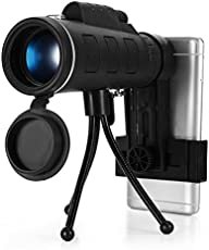 BuyWorld Zoom Monocular Telescope Scope for Smartphone Camera Camping Hiking Fishing with Compass (BWAL00413, 40X60)