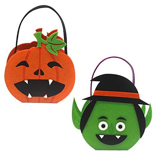 Halloween Taschen, Kürbis Candy Tote Hand Taschen für Kinder oder Kostüm, Halloween Tote Aufbewahrung Kürbisse Geister Tasche 2pcs ()