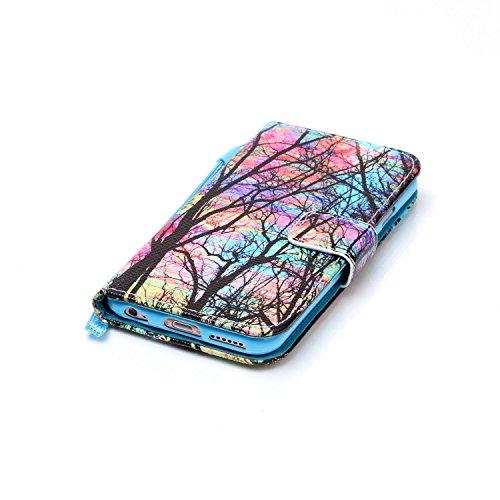 CaseHome iPhone 6/6S 4.7'' PU Leder Hülle Mode der eleganten Fall Schön Geprägte Muster Gedruckt Entwurf (Mit freiem HD Schirm-Schutz) Tadellos gepasst für iPhone 6/6S 4.7'' PU Leder Hülle Magnetische Bunter Baum