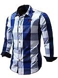 Neleus Men's Cotton Long Sleeve Button Down Plaid Checkered Casual Shirts,112,Blue,Large