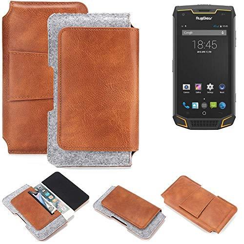 K-S-Trade Gürteltasche für Ruggear RG740 Gürtel Tasche Hüfttasche Belt Case Schutzhülle Handy Hülle aus Filz + Kunstleder (1 St.)