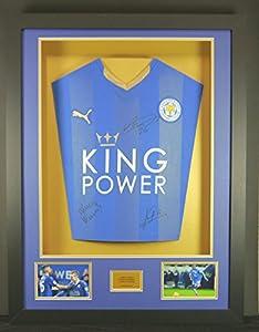 Vardy, Mahrez & Kante Leicester City Signed Shirt 3D Framed Display with COA