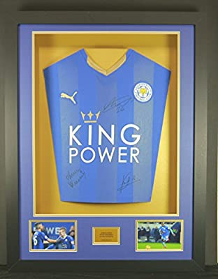 Vardy, Mahrez & Kante Leicester City Signed Shirt 3D Framed Display with COA