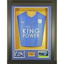 Vardy, Mahrez & Kante Leicester City firmado camiseta 3d enmarcado pantalla con COA