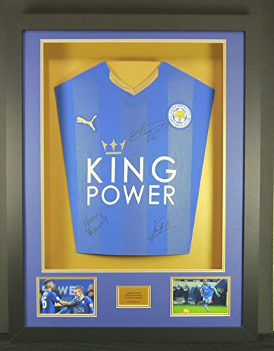 Vardy-Mahrez-Kante-Leicester-City-Signed-Shirt-3D-Framed-Display-with-COA