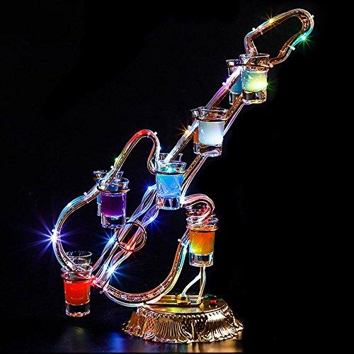 YIN YIN Geschirr Schmiedeeisen Desktop Bunte LED Light Charging Geeignet für viele Gelegenheiten Glühende Tasse Glas Cup Löcher: 24 (herzförmige), 15 (Saxophon), 12 (Ferris), 12 (Violine) Weinregal -