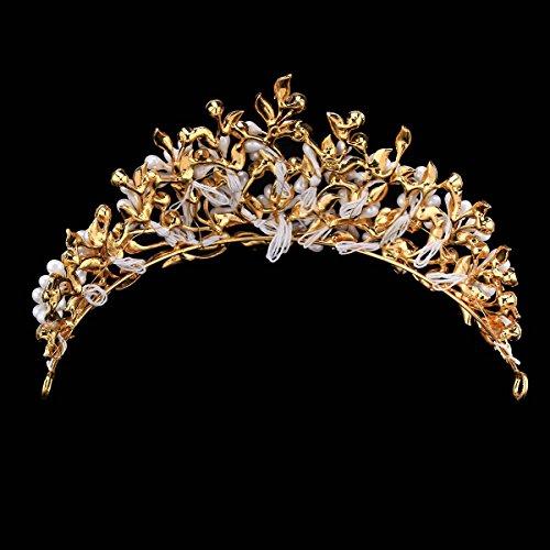 HerZii novia joyas retro aleación de hoja de rhiestone cabeza Tiara accesorios para el pelo de boda tiara Accesorios corona