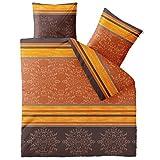 CelinaTex Fashion Bettwäsche 200 x 200 cm 3teilig Baumwolle Natalie Streifen Ornamente Braun Orange Gelb
