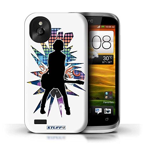 Kobalt® Imprimé Etui / Coque pour HTC Desire X / Chanteur Blanc conception / Série Rock Star Pose émotion Blanc