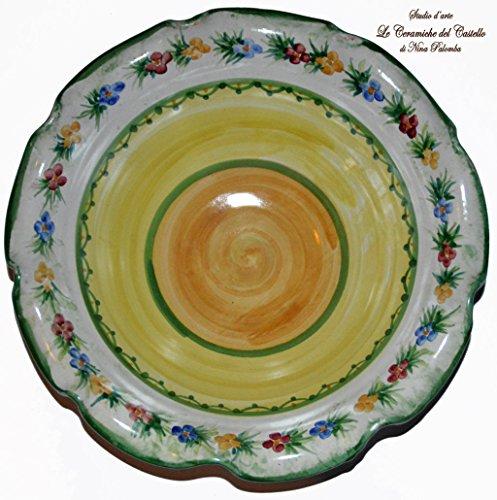 Centrotavola linea fiori decorato a mano le ceramiche del castello nina palomba made in italy dimensioni h 9,5 x l 30 centimetri.