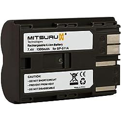 Mitsuru® batterie de rechange pour Canon BP511 BP511A BP-511 BP-511A , Canon EOS 5D 50D 40D 30D 20Da 20D 10D 300D D30 D60