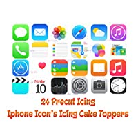 24 Precut Printed Icing Iphone Icons Edible Cake Decorations 23mm x 23mm