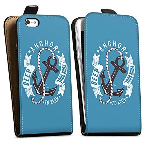 Apple iPhone X Silikon Hülle Case Schutzhülle Anker Seefahrer Maritim Downflip Tasche schwarz