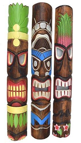 3 Stück Tiki Wandmaske im Tiki Hawaii Style in 100cm Länge (Tiki Masken)