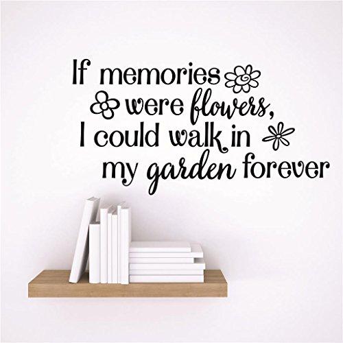 Design mit Vinyl Rad 52Dekor Wand Aufkleber Aufkleber: Wenn Erinnerungen wurden Blumen, I could Walk In My Garden Forever Design Memorial Remembrance Zitat, 38,1x 38,1cm schwarz -