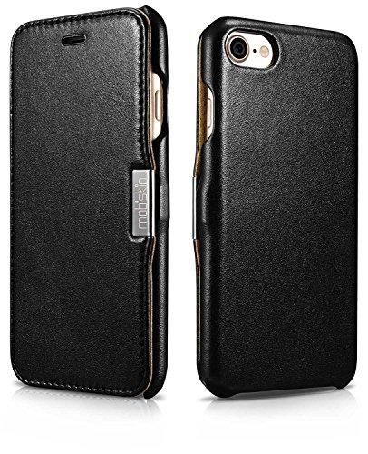 Custodia Mobiskin per Apple iPhone 8 e iPhone 7 (4,7 pollici) / Case con rivestimento esterno in vera pelle / Custodia protettiva con supporto apribile lateralmente / Astuccio per telefono / Cover ult Nero