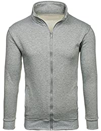 BOLF Herren Sweatshirt Sweatjacke Pullover Langarmshirt Stehkragen Zip BOLF BO02