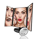 LED Makeup Mirror   21 Pcs Lighted Trifold Makeup Mirror with 1x/2x/3x Magnification   Detachable 10x Mirror   Illuminated Touch Screen   USB Charger   Anthony Emmanuel