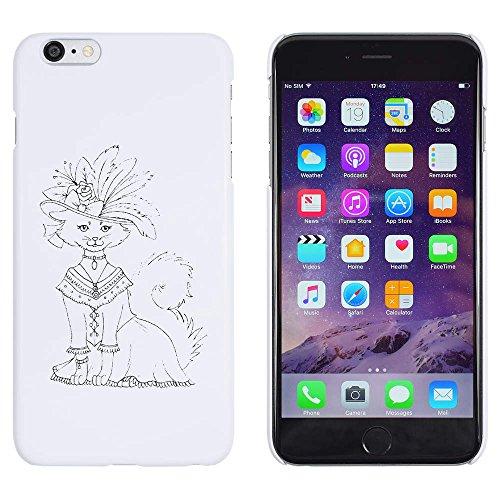 Weiß 'Katze im Kostüm & Hut' Hülle für iPhone 6 Plus & 6s Plus (MC00108818)