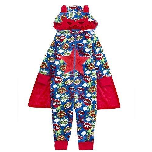 (Jungen Superheld Onezee Umhang mit Kapuze Maske NEUHEIT Kostüm Nachtwäsche 2-6 Jahre Nachtwäsche Weihnachtsgeschenk - Superheld blau 18c375, 104)