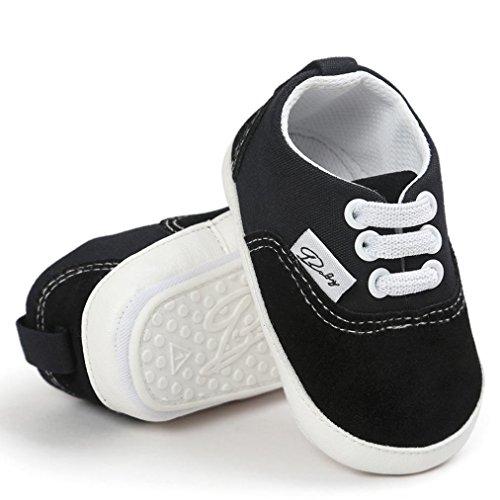 Hunpta Baby Mädchen Jungen Canvas Schuh Freizeitschuhe Sneaker rutschfest weiche Sohle Kleinkind (Alter: 6 ~ 12 Monate, Hot Pink) Schwarz