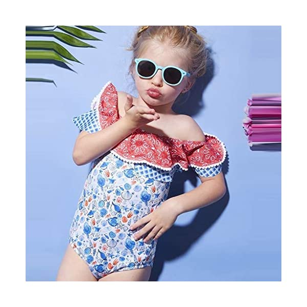 Heetey Traje de natación para niña, para niños pequeños, para bebé, niña, sin Mangas, con Estampado de Hombros, con… 4