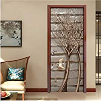 SZYUY Mural 3D Door Label For Living Room Bedroom Tree Branch Pvc Self Adhesive Wallpaper Home Decoration Wall Mural Painting Waterproof Decals