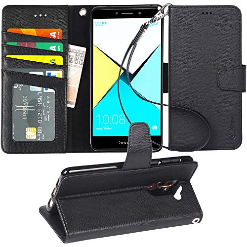 Arae Handyhülle Kompatibel mit Huawei Honor 6X Leder Hülle Tasche Flip Cover Schutzhülle - Schwarz