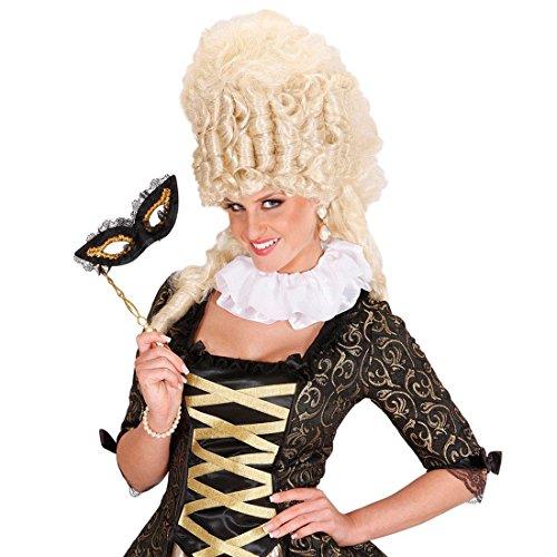 (NET TOYS Satin Mittelalter Halskrause Clown Kragen weiß Rüschenkragen Kräuselschal Jabot Rokoko Barock Kostüm Accessoire)