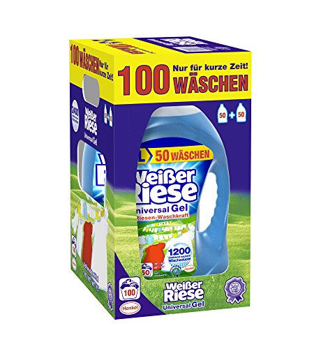 Weißer Riese Universal Gel Waschmittel, 1er Pack (1 x 100 Waschladungen) (Enzym-gel)
