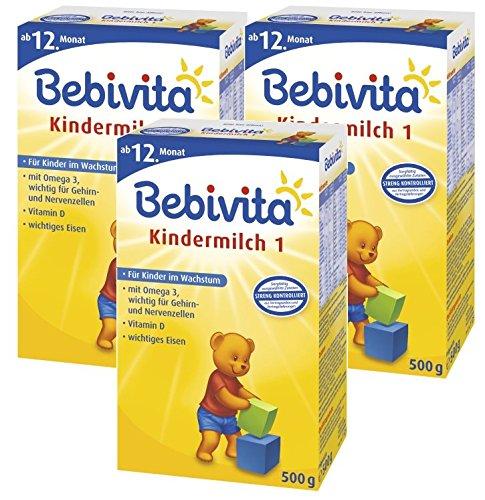 Bebivita Kindermilch 1 - ab dem 1. Jahr, 3er Pack (3 x 500g)