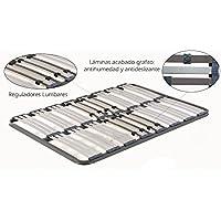 HOGAR24 Somier multiláminas con reguladores lumbares -Sin Patas- 90x200cm - Muebles de Dormitorio precios