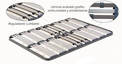 HOGAR 24 Somier Multiláminas con Reguladores Lumbares, Sin Patas, Acero, 90x190cm