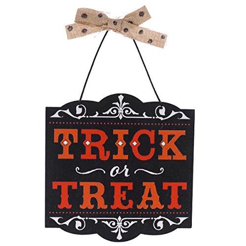 Vosarea Behandeln oder Trick Halloween hängenden Tür Dekorationen und Wandschilder Halloween Home Party Dekorationen (Behandeln Zeichen Trick Oder Halloween)