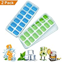 2 Packs Ice Cube Tray, LFGB Certified BPA Free Silicone Ice Cube Tray Moulds with Non-Spill Lid, Best for Baby Food, Water, Cocktail and Other Drink (Blue &Green)