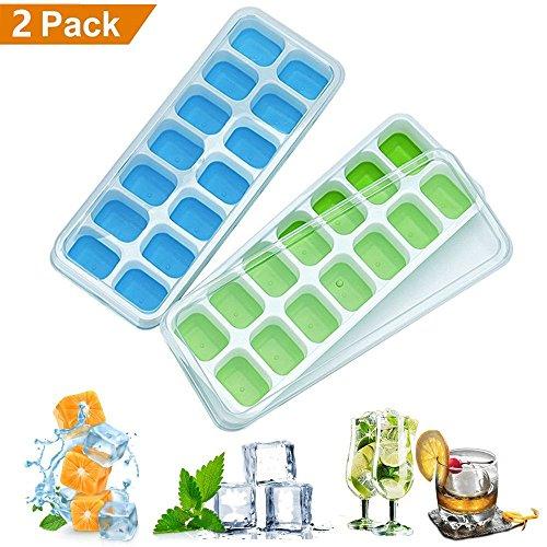 Eiswürfelform, leicht zu lösen, LFGB zertifiziert, BPA-frei, mit auslaufsicherem Deckel, beste Eisformen für Gefrierschrank, Babynahrung, Wasser, Cocktail und andere Getränke 2er-Set