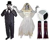 Déguisement accessoires avec maquillage et faux sang de jeune couple marié pour adulte avec pour l'Homme (Medium) une veste et un pantalon + un chapeau haut de forme noir + Un nœud papillon noir et pour la Femme (Medium) une robe de mariée + un voile pour les cheveux. Idéal pour les fêtes d'Halloween ou les enterrements de vie de garçon ou de jeune fille.