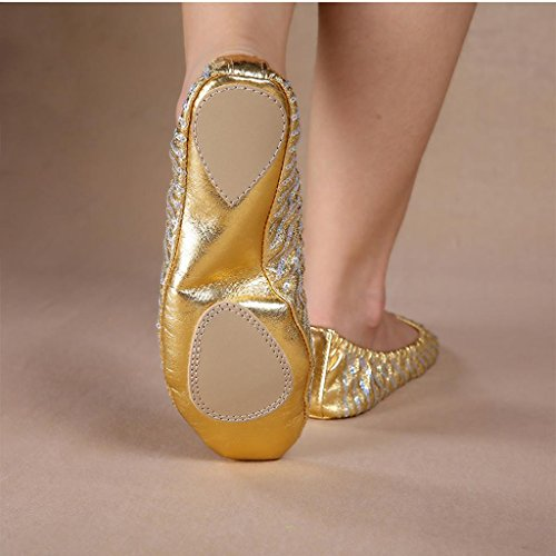 Wgwioo Scarpe Da Donna Di Danza Per Adulti Scarpette Da Ballo In Pelle Paillettes Yoga Piatto Dancing Shoes 2