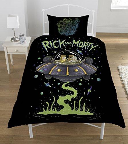 Rick und Morty UFO Bettwäsche-Set, Polyester-, Mehrfarbig,