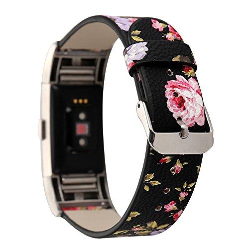 Gimartuk Ersatz-Armband für Fitbit Charge 2 Fitnesstracker, ausMikrofaserleder, für Damen und Mädchen, mit Blumenmuster, Black+Pink, Small / Large (Leder 2 Damen)
