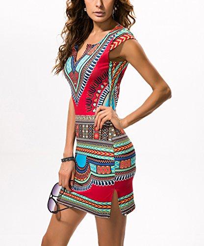 Vestito Da donna Hippie Boho Etnico Stampa Senza Maniche Vestiti Abiti da Spiaggia Sera Cerimonia Cocktail Rosso