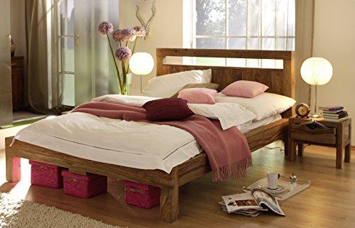 SalesFever Massiv-Holzbett Yoga, 180x200 cm, Sheesham-Holz, in Natur, Balkenbett mit hohem Kopfteil, inkl. 2 Nachtschränke
