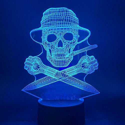 CYJQT 3D-Nachtlichter Kindergefühle Lichter Büro Dekoration Umgebungslichter Nachtlichter Hunter S Thompson Gonzo Nachrichten Business-Nachtlichter Led-Berührungssensoren Schädel - Bären Nachricht