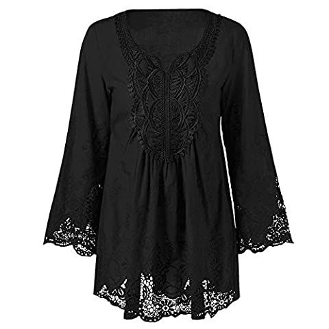 CharMma Women's Plus Size Long Sleeve Lace Patchwork Mexican Peasant Blouse Top (XXXXX-Large,