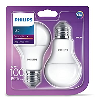 Philips E27 Edison Screw LED Light Bulb, 13.5 W, 230 V - Warm White Frosted