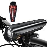 Degbit LED Fahrradbeleuchtung Set, Degbit StVZO Zugelassen USB Wiederaufladbare LED Fahrradlicht Set, Fahrradlampe Set inkl, LED Frontlichter Frontlich und Rücklicht, 60Lux Akku USB Aufladbare Fahrradlichter