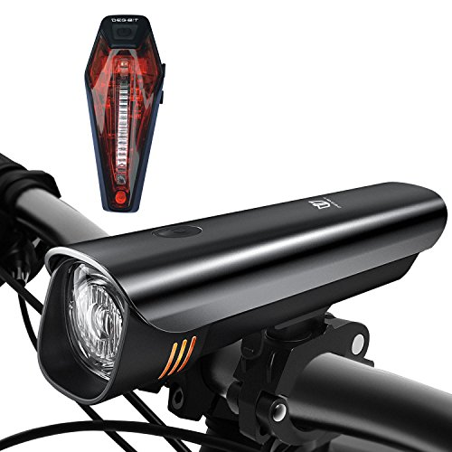 LED Fahrradbeleuchtung Set, Degbit StVZO Zugelassen USB Wiederaufladbare LED Fahrradlicht Set, Fahrradlampe Set inkl, LED Frontlichter Frontlich und Rücklicht, 60Lux Akku USB Aufladbare Fahrradlichter